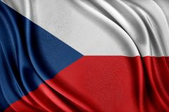 De vlag van de Tsjechische republiek Vlag met een glanzende zijdetextuur Royalty-vrije Stock Fotografie