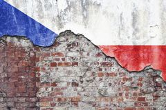De Vlag van de Tsjechische Republiek op Grungy Muur Stock Afbeelding