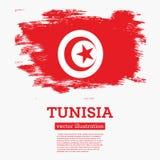 De Vlag van Tunesië met Borstelslagen Royalty-vrije Stock Afbeelding