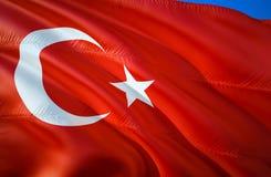 De Vlag van Turkije 3D het Golven vlagontwerp Het nationale symbool van Turkije, het 3D teruggeven Nationale kleuren van 3D Golve vector illustratie