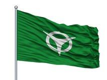 De Vlag van de Ujistad op Vlaggestok, de Prefectuur van Japan, Kyoto, op Witte Achtergrond wordt geïsoleerd die royalty-vrije illustratie