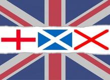De vlag van Union Jack van de vlaggen van Engeland, Schotland en Ierland Stock Afbeeldingen
