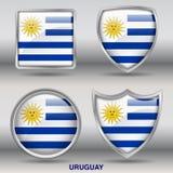 De Vlag van Uruguay in 4 vormeninzameling met het knippen van weg Stock Afbeelding