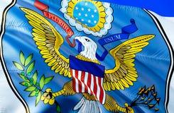 De vlag van de V 3D het Golven vlagontwerp Het nationale symbool van de V.S., het 3D teruggeven Grote de Verbindings Nationale kl stock foto