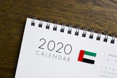 De Vlag van de V.A.E op de Kalender van 2020 stock afbeeldingen
