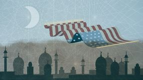 De Vlag van de V.S. als magisch Tapijt wordt vertegenwoordigd die over Islamitische Cityscape vliegen die stock illustratie
