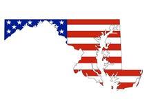 De Vlag van de V.S. die met de Kaart van de Staat van de V.S. van Maryland wordt gecombineerd royalty-vrije illustratie