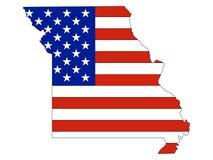 De Vlag van de V.S. die met de Kaart van de Staat van de V.S. van Missouri wordt gecombineerd vector illustratie