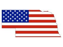 De Vlag van de V.S. die met de Kaart van de Staat van de V.S. van Nebraska wordt gecombineerd vector illustratie