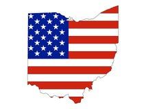 De Vlag van de V.S. die met de Kaart van de Staat van de V.S. van Ohio wordt gecombineerd royalty-vrije illustratie