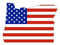 De Vlag van de V.S. die met de Kaart van de Staat van de V.S. van Oregon wordt gecombineerd vector illustratie