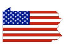 De Vlag van de V.S. die met de Kaart van de Staat van de V.S. van Pennsylvania wordt gecombineerd vector illustratie