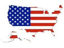 De Vlag van de V.S. die met de Kaart van de V.S. wordt gecombineerd vector illustratie