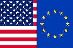 De vlag van de V.S. en van Europa royalty-vrije stock foto