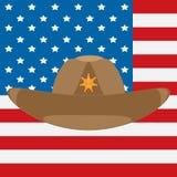 De vlag van de V.S. en de hoed van de sheriff` s cowboy met een ster stock illustratie