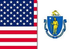 De vlag van de V.S. en van Massachusetts stock foto's