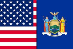 De vlag van de V.S. en de vlag van New York royalty-vrije stock foto's