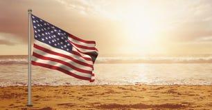 De vlag van de V.S. in het strand royalty-vrije stock fotografie