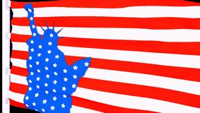 De vlag van de V.S. met het standbeeld van vrijheid royalty-vrije illustratie