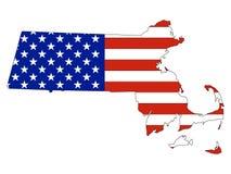 De Vlag van de V.S. met de Kaart van de Staat van de V.S. van Massachusetts wordt gecombineerd dat stock illustratie