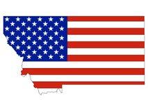 De Vlag van de V.S. met de Kaart van de Staat van de V.S. van Montana wordt gecombineerd dat stock illustratie