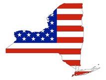 De Vlag van de V.S. met de Kaart van de Staat van de V.S. van New York wordt gecombineerd dat stock illustratie