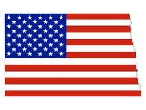 De Vlag van de V.S. met de Kaart van de Staat van de V.S. van Nieuw Noord-Dakota wordt gecombineerd dat vector illustratie