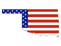 De Vlag van de V.S. met de Kaart van de Staat van de V.S. van Oklahoma wordt gecombineerd dat vector illustratie