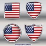 De Vlag van de V.S. in 4 vormeninzameling met het knippen van weg Stock Fotografie
