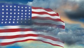 De vlag van de V.S. in wit wordt - het 3d teruggeven geïsoleerd die Stock Afbeelding