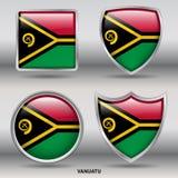 De Vlag van Vanuatu in 4 vormeninzameling met het knippen van weg Royalty-vrije Stock Afbeeldingen