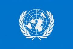 De vlag van de Verenigde Naties op hout royalty-vrije illustratie