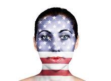 De vlag van Verenigde Staten op een gezicht royalty-vrije stock afbeelding