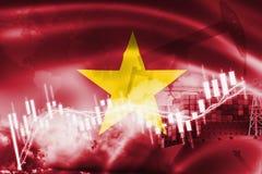 De vlag van Vietnam, effectenbeurs, uitwisselingseconomie en Handel, olieproductie, containerschip in de uitvoer en de invoerzake stock foto's