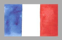 De Vlag van waterverffrankrijk, Vectorillustratie Royalty-vrije Stock Foto's