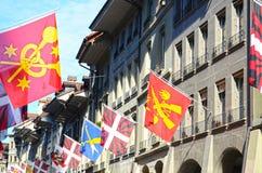 De vlag van Wiss in Berne, Zwitserland. Stock Foto's