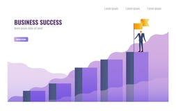 De vlag van de zakenmanholding op de bovenkant van grafiek royalty-vrije illustratie