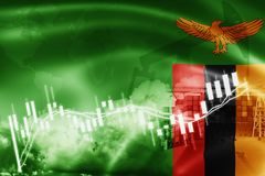De vlag van Zambia, effectenbeurs, uitwisselingseconomie en Handel, olieproductie, containerschip in de uitvoer en de invoerzaken royalty-vrije stock foto