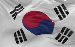 De vlag van Zuid-Korea die in de 3d wind golven geeft terug Stock Fotografie