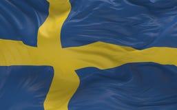 De vlag van Zweden die in de 3d wind golven geeft terug Royalty-vrije Stock Foto's