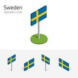 De vlag van Zweden, vectorreeks 3D isometrische pictogrammen Royalty-vrije Stock Foto's