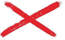 De Vlag VectordieHand van Saltire van Noord-Ierland Heilige Patrickmet Rond gemaakte Borstel wordt geschilderd Stock Afbeelding
