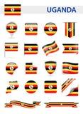 De Vlag Vectorreeks van Oeganda Stock Foto's