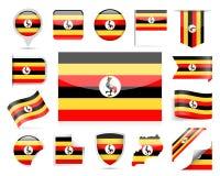 De Vlag Vectorreeks van Oeganda Stock Afbeelding