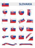 De Vlag Vectorreeks van Slowakije Stock Foto