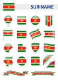 De Vlag Vectorreeks van Suriname Stock Afbeeldingen