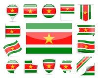 De Vlag Vectorreeks van Suriname Royalty-vrije Stock Afbeelding