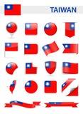 De Vlag Vectorreeks van Taiwan Royalty-vrije Stock Foto's