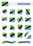 De Vlag Vectorreeks van Tanzania Stock Fotografie