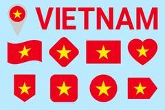 De Vlag Vectorreeks van Vietnam De Vietnamese inzameling van natioanlsymbolen Geometrische vormen Vlakke stijl nationale sporten, stock illustratie